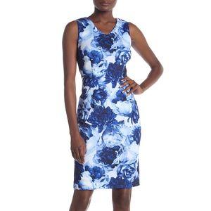 T Tahari Sleeveless Floral Printed Scuba Dress